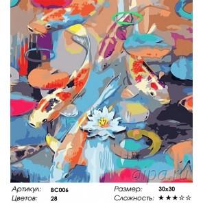 Радужные рыбки Раскраска - открытка по номерам с декором Color Kit