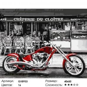 Количество цветов и сложность Красный чоппер Раскраска картина по номерам на холсте GX8933
