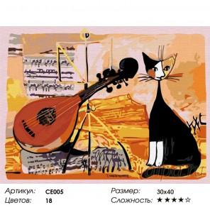 Музыкальный кот Раскраска по номерам на холсте Color Kit CE005