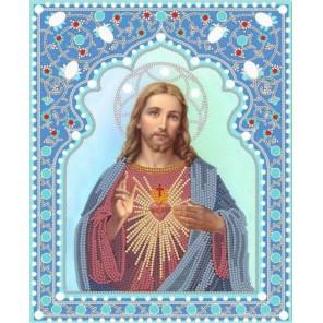 Пример оформления в рамке Святейшее Сердце Иисуса Канва с рисунком для вышивки бисером Конек 7104