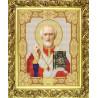 Пример оформления в рамке Святой Николай Чудотворец Канва с рисунком для вышивки бисером Конек 9112