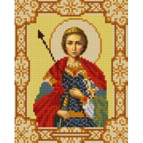 Святой Георгий Победоносец Канва с рисунком для вышивки бисером Конек