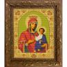 Пример оформления в рамке Иверская Богородица Канва с рисунком для вышивки бисером Конек 9207