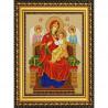 Пример оформления в рамке Богородица Всецарица Канва с рисунком для вышивки бисером Конек 9219