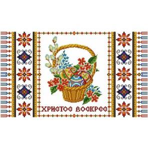 Пример оформления в рамке Рушник пасхальный 1 Канва с рисунком для вышивки бисером Конек 9405