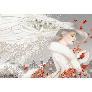 Леди в белом Канва с рисунком для вышивки бисером Конек