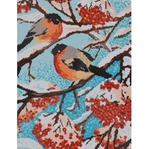Снегири Канва с рисунком для вышивки бисером Конек