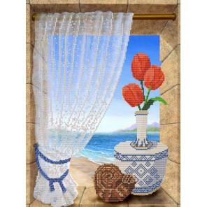 Пример оформления в рамке Вид на море Канва с рисунком для вышивки бисером Конек 9629