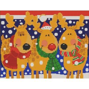 Пример оформления в рамке Олени Канва с рисунком для вышивки бисером Конек 9639