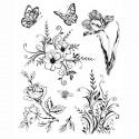 Цветы и бабочки Силиконовые штампыдля скрапбукинга, кардмейкинга Viva Decor