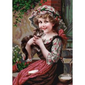 Девочка с котёнком Канва с рисунком для вышивки бисером Конек