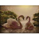 Пара лебедей Канва с рисунком для вышивки бисером Конек