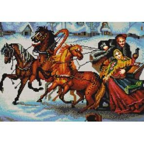 Тройка лошадей Канва с рисунком для вышивки бисером Конек