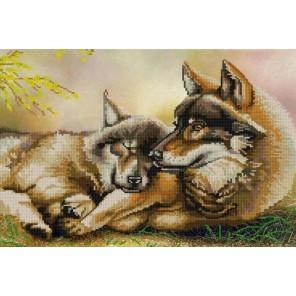 Пара волков Канва с рисунком для вышивки бисером Конек
