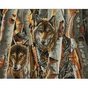 Пример оформления в рамке Волки в лесу Канва с рисунком для вышивки бисером Конек 9822