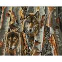 Волки в лесу Канва с рисунком для вышивки бисером Конек