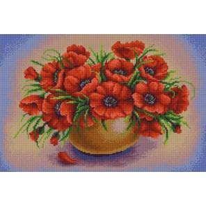 Маки в вазе Канва с рисунком для вышивки бисером Конек