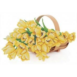 Жёлтые тюльпаны Канва с рисунком для вышивки бисером Конек