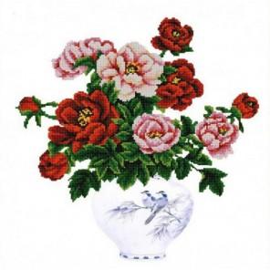 Пионы в вазе Канва с рисунком для вышивки бисером Конек