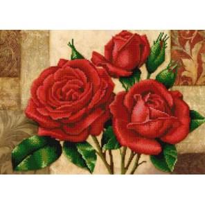 Красные розы Канва с рисунком для вышивки бисером Конек
