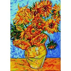 Пример оформления в рамке Подсолнухи (Ван Гог) Канва с рисунком для вышивки бисером Конек 9899