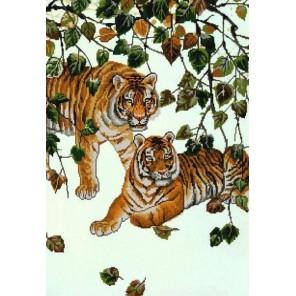 Пара тигров Канва с рисунком для вышивки бисером Конек