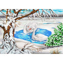 Лебеди на пруду Канва с рисунком для вышивки бисером Конек