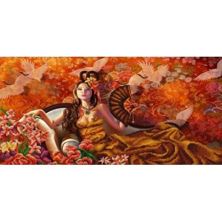 Восточный мотив Канва с рисунком для вышивки бисером Конек