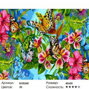 Цветы и бабочки Раскраска картина по номерам на холсте