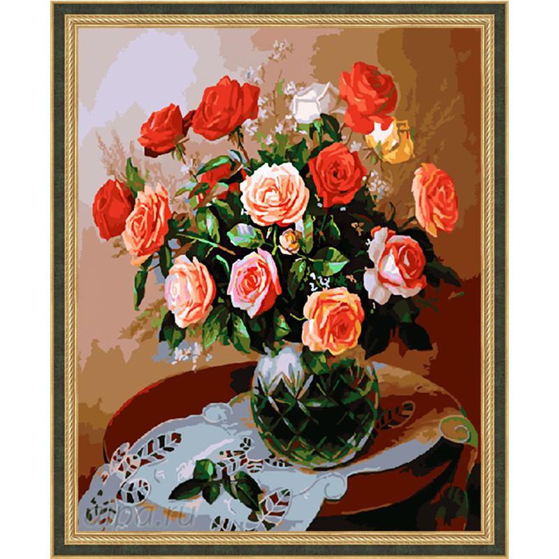 GX5728 Розы в хрустальной вазе Раскраска картина по ...
