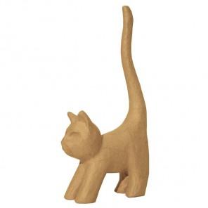 Котик хвост вверх малая Фигурка из папье-маше объемная Decopatch