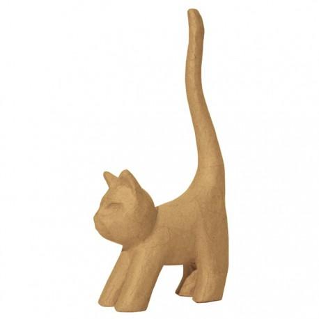 Котик хвост вверх 7х13,5х32 Фигурка из папье-маше объемная