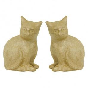 Кошки уп /2 шт 9х18,5х13 Фигурки из папье-маше объемные