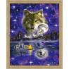 В рамке N118 Ночь волка Раскраска картина по номерам на холсте