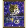 В рамке N134 Ночь волка Раскраска картина по номерам на холсте