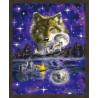В рамке N181 Ночь волка Раскраска картина по номерам на холсте