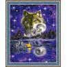 В рамке N182 Ночь волка Раскраска картина по номерам на холсте