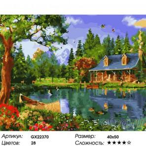 Количество цветов и сложность Дом у озера Раскраска картина по номерам на холсте  GX22370