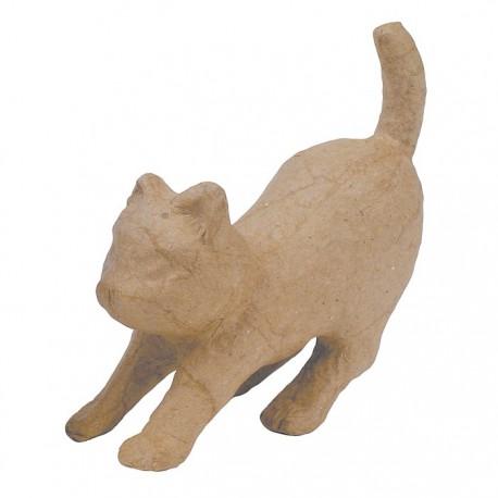 Кошечка тянется 10,5х30х32 Фигурка из папье-маше объемная
