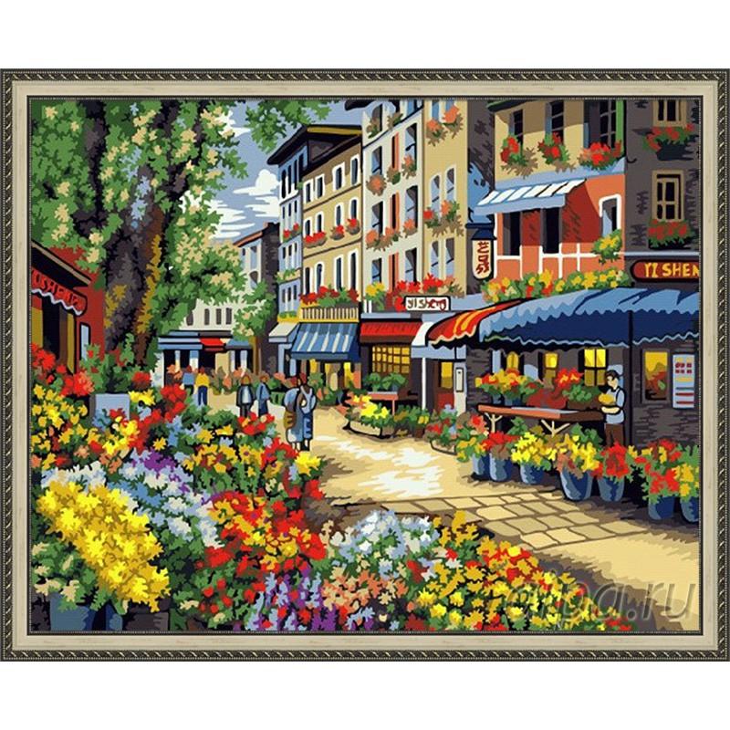 GX7090 Цветочная улица Раскраска картина по номерам на ...