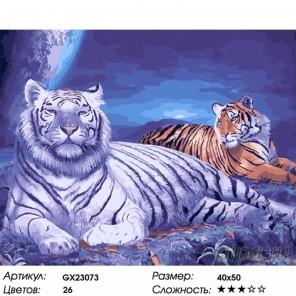 Тигры в лунном свете Раскраска картина по номерам на холсте