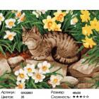 Количество цветов и сложность Кот в нарциссах Раскраска картина по номерам на холсте GX22851