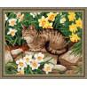 В рамке N133 Кот в нарциссах Раскраска картина по номерам на холсте