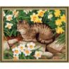 В рамке N134 Кот в нарциссах Раскраска картина по номерам на холсте