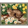 В рамке N143 Кот в нарциссах Раскраска картина по номерам на холсте