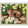 В рамке N166 Кот в нарциссах Раскраска картина по номерам на холсте