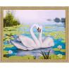 В рамке N118 Лебеди и кувшинки Раскраска картина по номерам на холсте