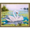 В рамке N134 Лебеди и кувшинки Раскраска картина по номерам на холсте