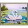 В рамке N143 Лебеди и кувшинки Раскраска картина по номерам на холсте