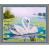 В рамке N182 Лебеди и кувшинки Раскраска картина по номерам на холсте